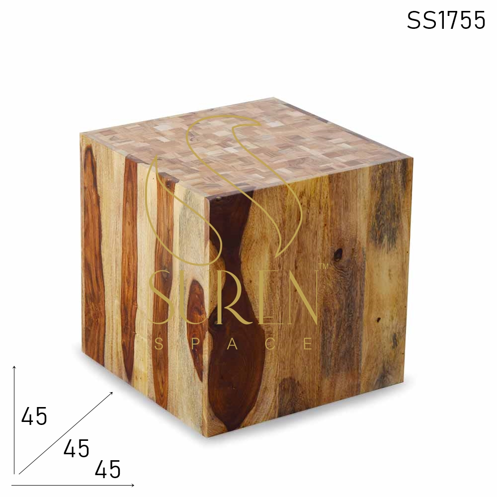 SS1755 Suren Space Solid Grain Wood Hollow Design Bijzettafel Cum Kruk
