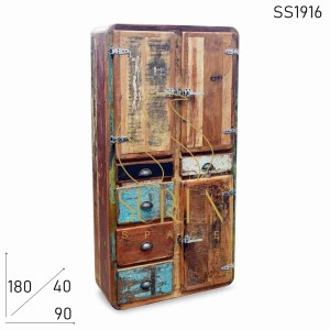 SS1916 Suren Space Indian Reclaimed Wood Fridge Pattern Wardrobe Furniture