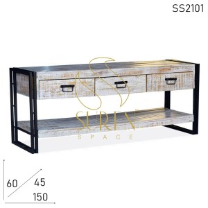 SS2101 Suren Space White Distress Mango Wood Metal Side Entertainment Unit
