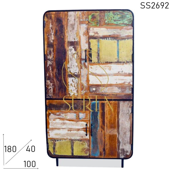 SS2692 Suren Space Indian Recycled Boat Wood Metal Frame Industrial Wardrobe Design