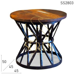SS2803 Suren Space Old Metal Unique Street Design Side Table cum Coffee Table