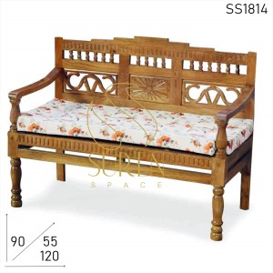 SS1814 SUREN SPACE Hand Carved Indian Carved Solid Wood Bench Design
