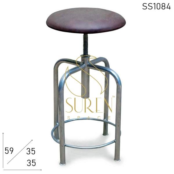 Sgabello pub regolabile in pelle seduti SS1084 Suren Space Silver Finish