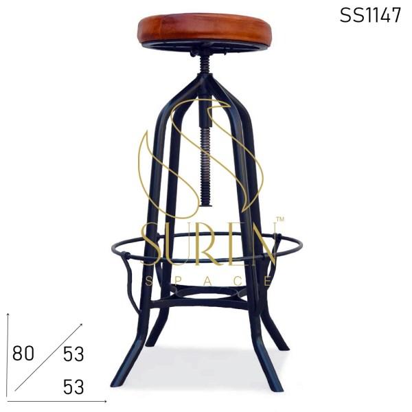SS1147 Suren Space Negro Metal cuero asiento industrial cuero asiento taburete