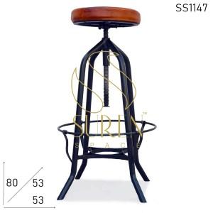 SS1147 Suren пространства Черный металл Кожаные сиденья Промышленный кожаный стул сиденья