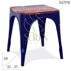 SS1178 Old Solid Wood Metal Base Industrial Stool Design