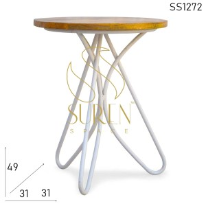 SS1272 SUREN SPACE Bent Metal Solid Wood Simple Design Stool