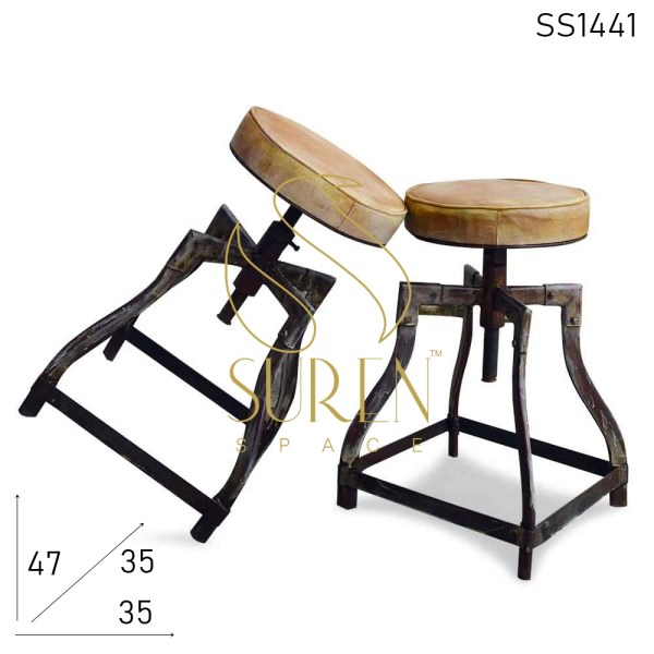 SS1441 SUREN SPACE Distress Metal Bent Pipe Design Leather Seat Industrial Stool Design