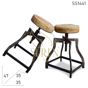 SS1441 SUREN SPACE Distress Metal Bent Pipe Design Leather Seat Industrial Stool Design