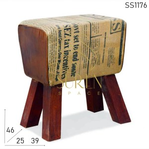 SS1176 SUREN SPACE Unique Newspapper Printed Canvas Leather Pouf Stool
