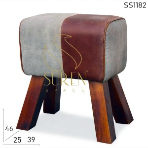 SS1182 SUREN SPACE Canvas Cuir Gris Nuance Ottoman Design