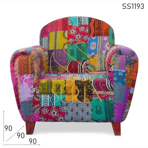 SS1193 Suren Space Indian Gudri Fabric Traditional Single Sofa