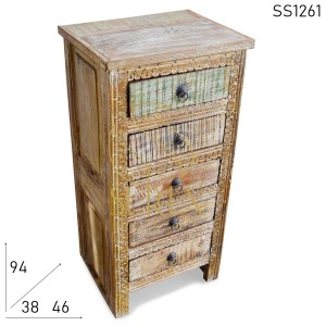 SS1261 Suren Space Distress Carved Reclaimed Pattern Chest of Drawers