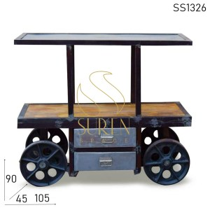 SS1326 SUREN SPACE Industrial Cast Iron Wheel Kitchen Trolley
