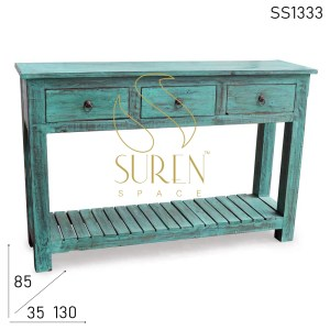 SS1333 Suren Space Green Distress Three Drawer Console Table Design