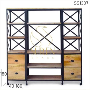 SS1337 Suren Space Metal Frame Solid Wood Wheel Base Living Room Bookshelf