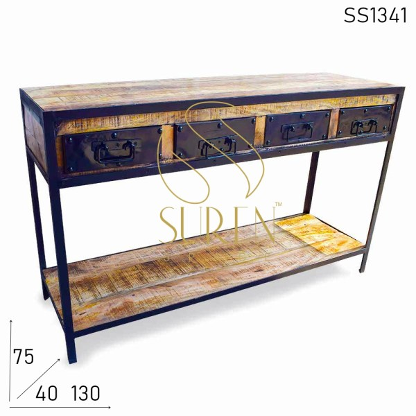 SS1341 Suren Space Industrial Four Drawer Mango Wood Console Table