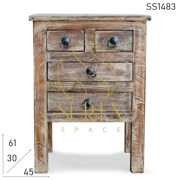 SS1483 Suren Space Distress Finish Four Drawers Side Table