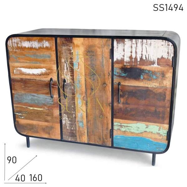 SS1494 SUREN ESPAÇO recuperado sideboard de corpo de metal de madeira