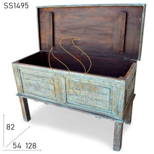 SS1495 Distress Wood Carved Sideboard Console
