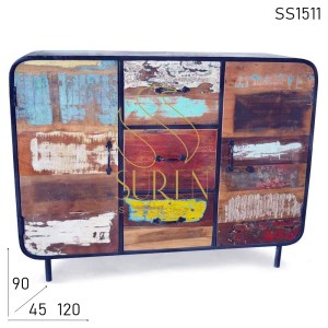 SS1511 Suren Space Indian Old Wood Recycled Sideboard Design