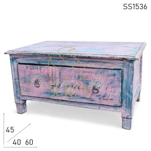 SS1536 Suren Space Dual Tone Distress Finish Solid Wood One Drawer Bajot