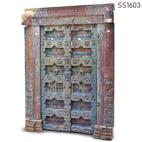 SS1603 Suren Space One of Kind Hand Carved Indian Door For Hospitality
