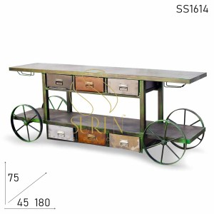 SS1614 SUREN SPACE Green Distress Iron Base Trolley Design