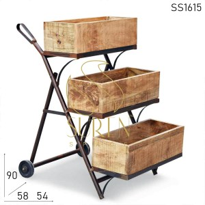 SS1615 Suren Space Compact Design Rustic Finish Storage Trolley