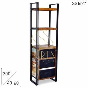 SS1627 Suren Space Three Metal Drawer Reclaimed Wood Bookshelf Design
