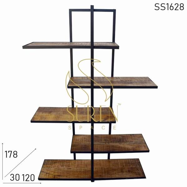 SS1628 Suren Space Modern Design Metal Wood Industrial Bookshelf