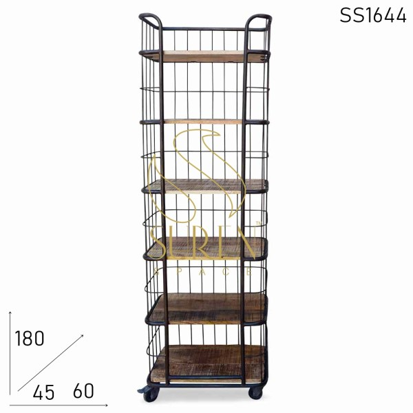 SS1644 Suren Space Indian Industrial Style Open Bookcase Design