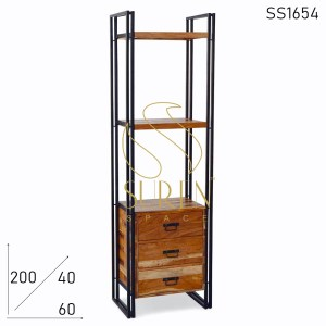 SS1654 Suren Space Reclaimed Wood Industrial Design Three Drawer Bookcase