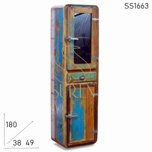SS1663 Suren Space Fridge Reclaimed Finish Two Doors One Drawer Cabinet