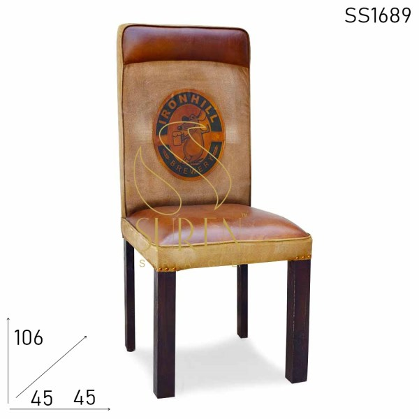 SS1689 Suren Space Canvas Leather Old School Dining Chair