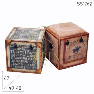 SS1762 SUREN SPACE Dual tone Distress Finish Canvas Leather Storage Box Stool