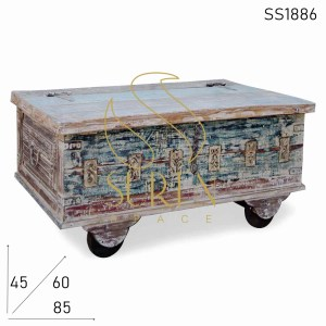 SS1886 SUREN SPACE White Distress Wheel Design Reclaimed Wood Trunk