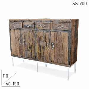 SS1900 Suren Space Indian Slipper Wood White Base Unique Sideboard Furniture