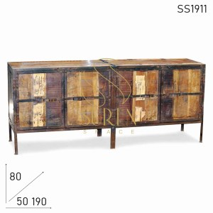 SS1911 Suren Space Old Indian Window Door Wood TV Cabinet Cum Sideboard