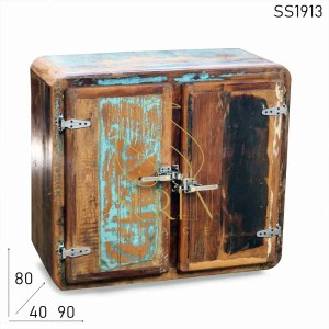 SS1913 Suren Space Fridge Style Reclaimed Wood Two Door Cabinet
