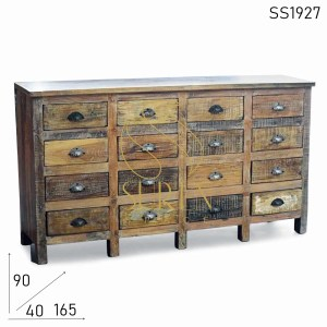 SS1927 Suren Space Distress Chic Design Old Wood Multi Drawer Chest of Drawer