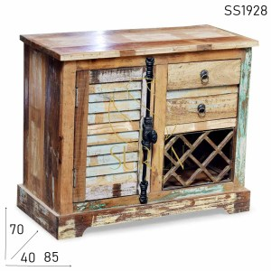 SS1928 Suren Space Reclaimed Wood Handcrafted Wine Bar Armoire