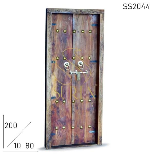 SS2044 Suren Space Brass Fitted Solid Acacia Wood Camp Tent Door Design