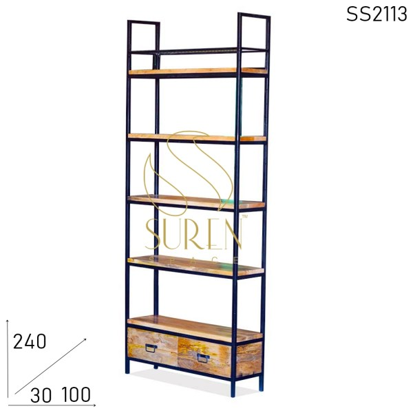 SS2113 Suren Space Indian Solid Wood Metal Frame Open Bookcase