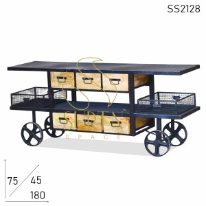 SS2128 Suren Space Black Natural Finish Industrial Trolley Design