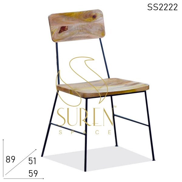 SS2222 Suren Space Curved Solid Wood Metal Base Hospitality Chair