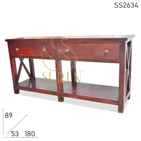 SS2634 Suren Space Cross Design Solid Wood Two Drawer Console Table