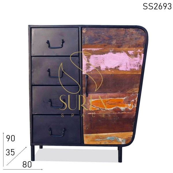 SS2693 Suren Space Vintage Looking Industrial Four Drawer Cabinet