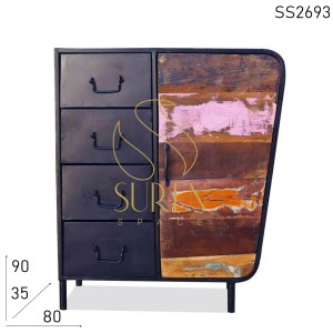 SS2693 Suren Space Vintage Looking Industrial Four Drawer Armoire