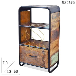 SS2695 Suren Space Old Reclaimed Wood Industrial Style Bookcase